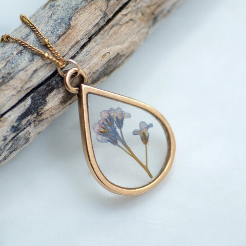 Forget Me Not Pressed Flower Necklace by Olive Bella.  Shop now: https://olivebella.com