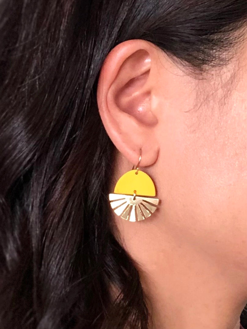 Sun Earrings on model