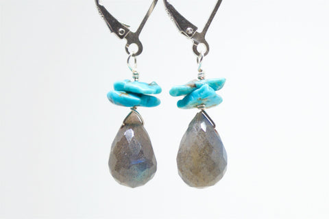 Labradorite Briolette Turquoise Gemstone Earrings