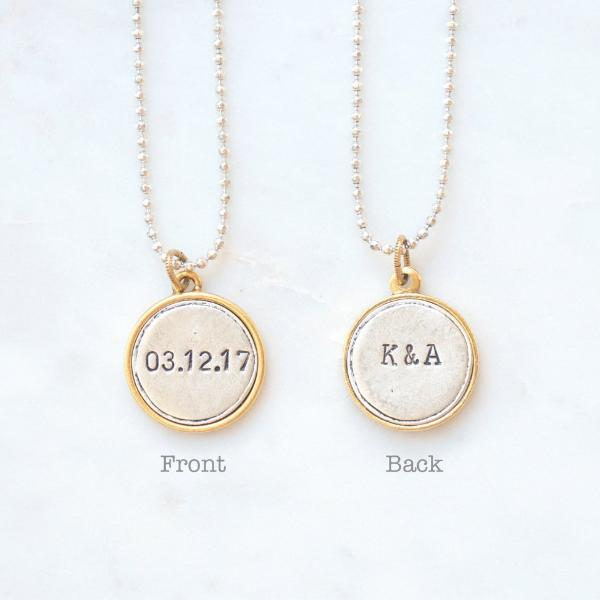 filled wedding listing aftcra jewelry custom necklace personalized bar gold date naturelook engraved