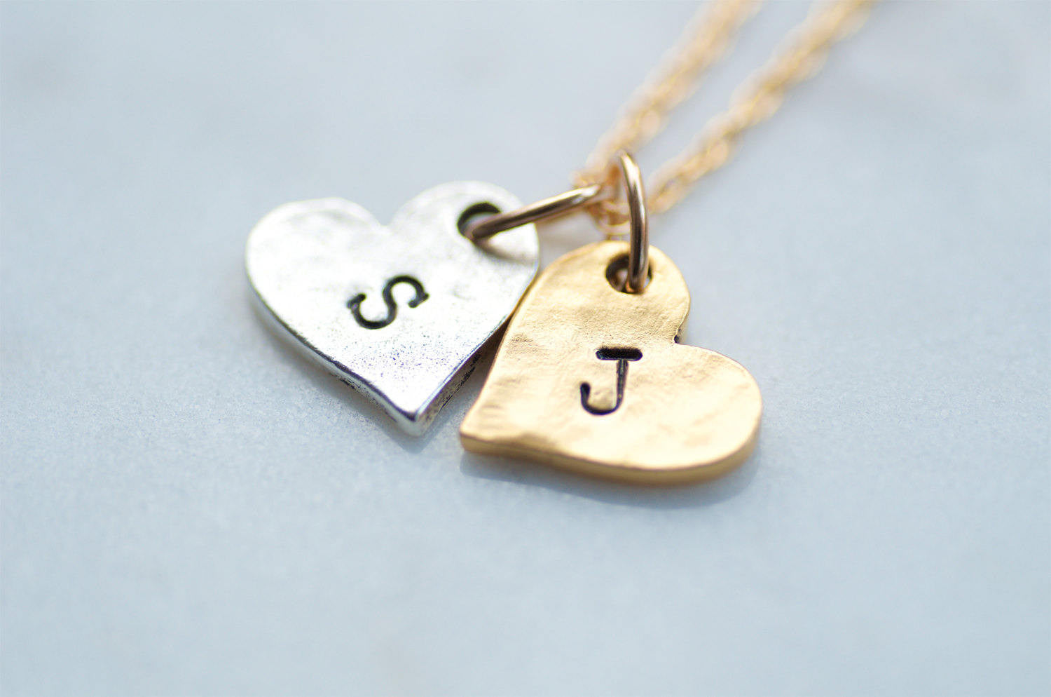 Two Hearts Initial Necklace by Olive Bella.  Shop now: https://olivebella.com