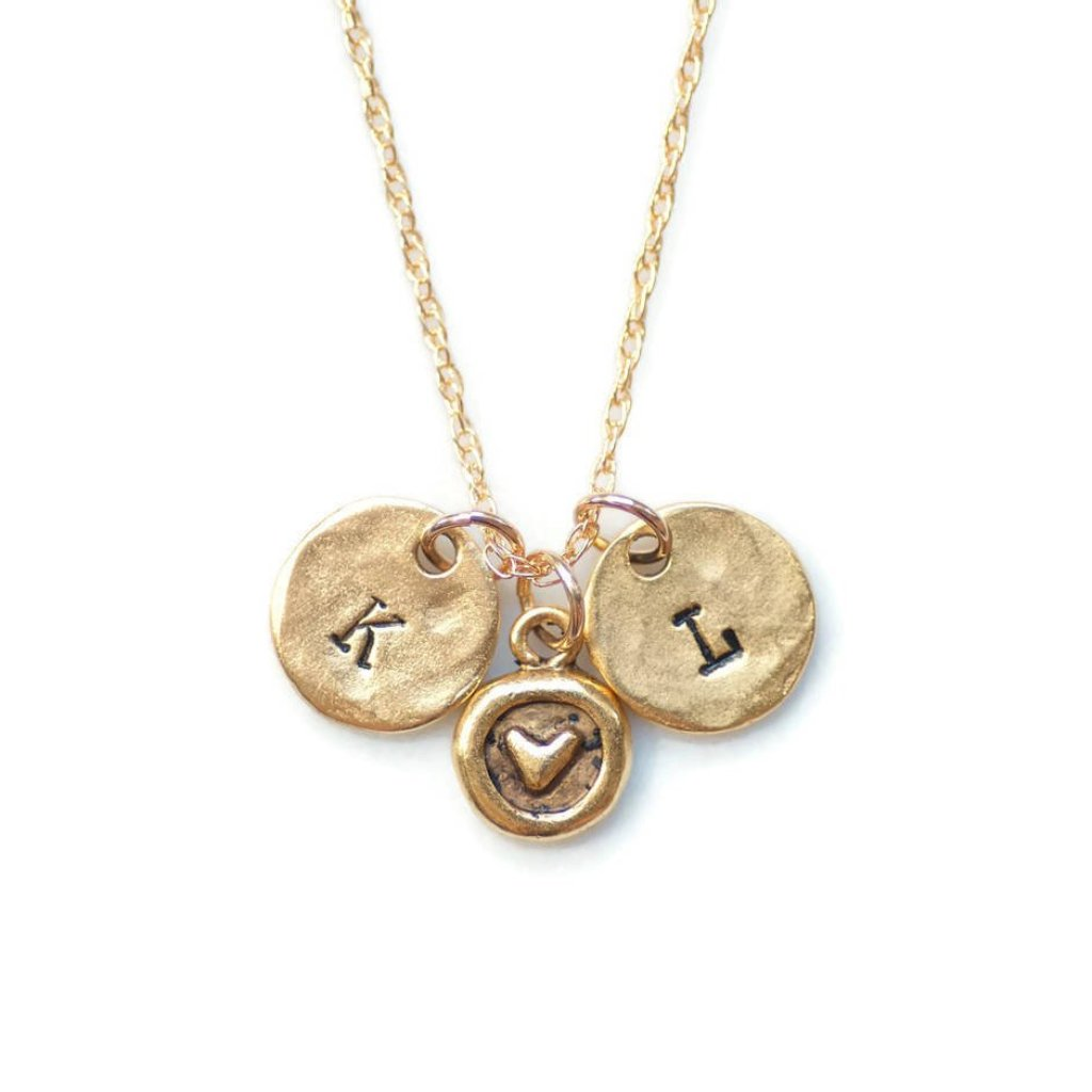 Initials heart Necklace by Olive Bella.  Shop now: https://olivebella.com