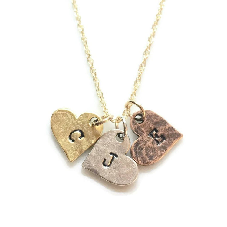 Three Hearts Initials Necklace