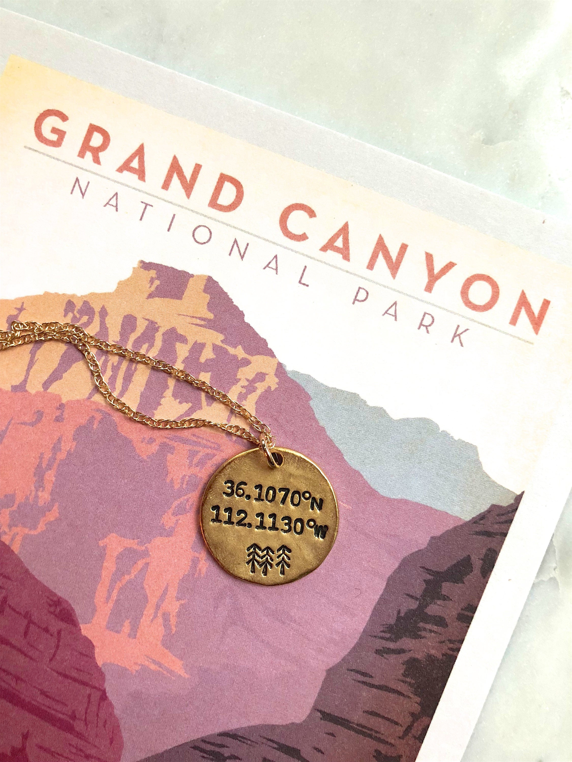 Grand Canyon Longitude Latitude Necklace by Olive Bella.  Shop now: https://olivebella.com