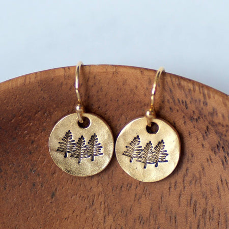 Gold Pine Tree Earrings by Olive Bella.  Shop now: https://olivebella.com