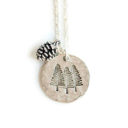 Silver Pine Trees Necklace by Olive Bella