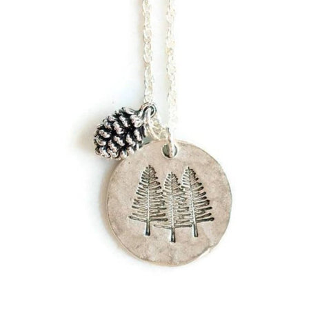 Silver Pine Trees Necklace