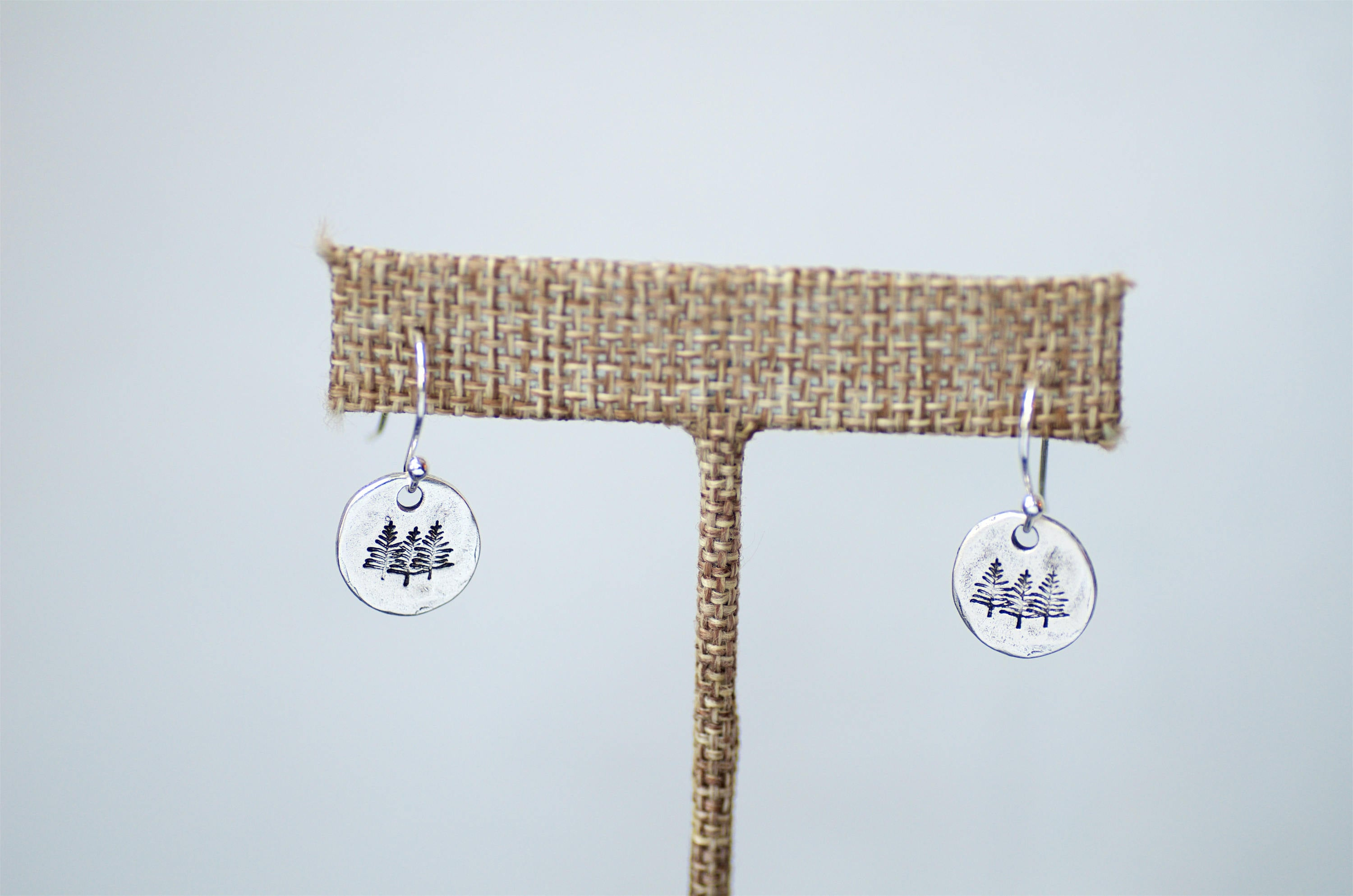 Silver Pine Tree Earrings