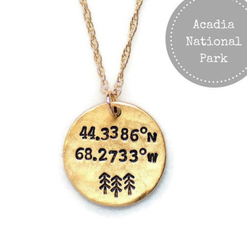 Acadia National Park Coordinates Necklace