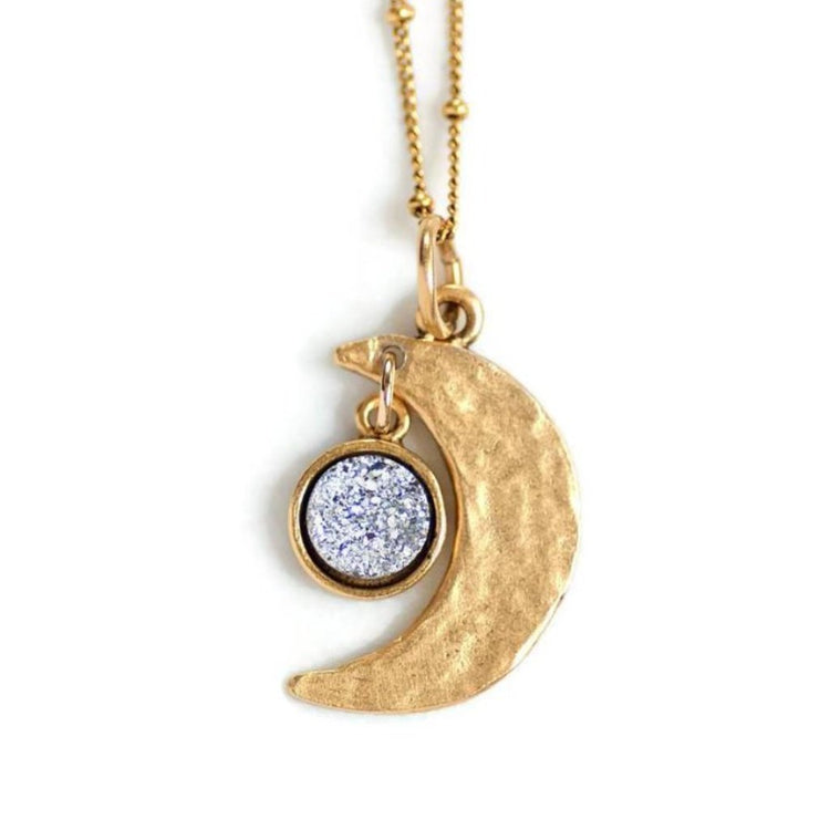 Crescent Moon Druzy Necklace by Olive Bella.  Shop now: https://olivebella.com