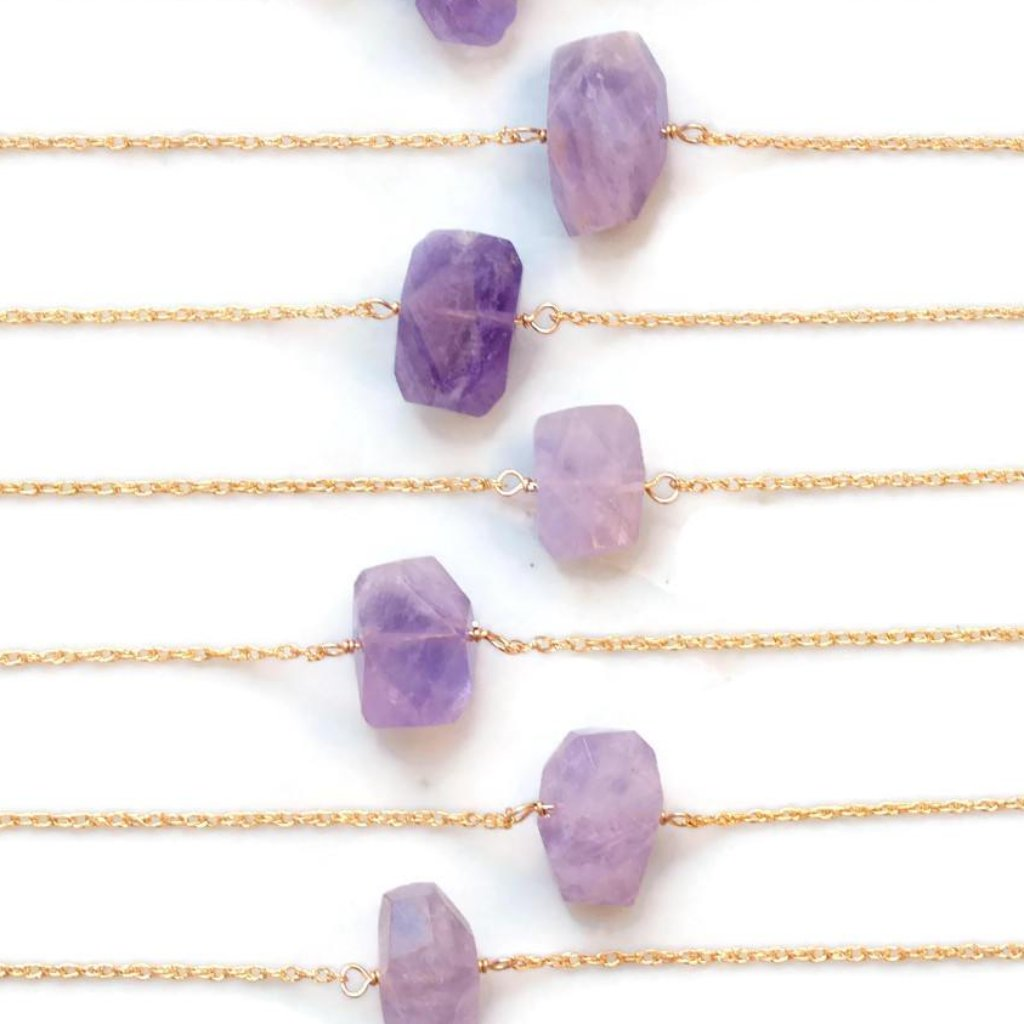 Amethyst Birthstone Necklace by Olive Bella.  Shop now: https://olivebella.com