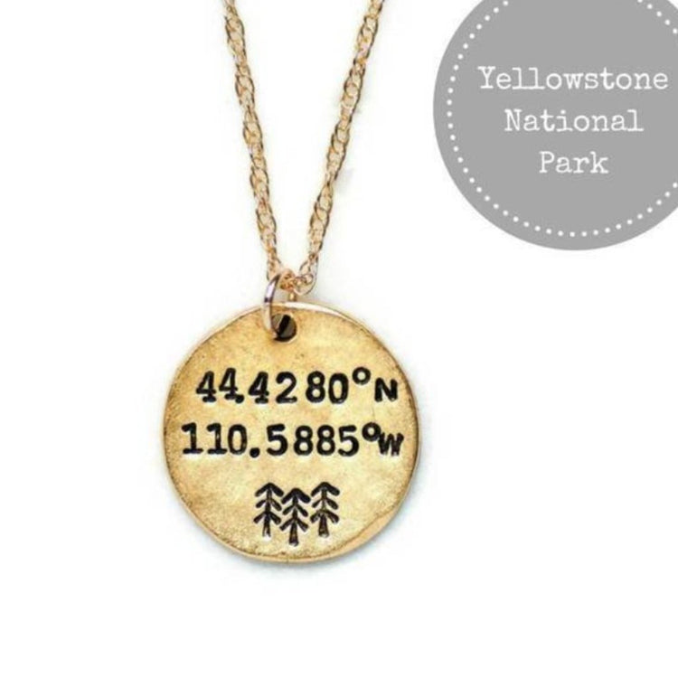 Yellowstone National Park Coordinates Necklace