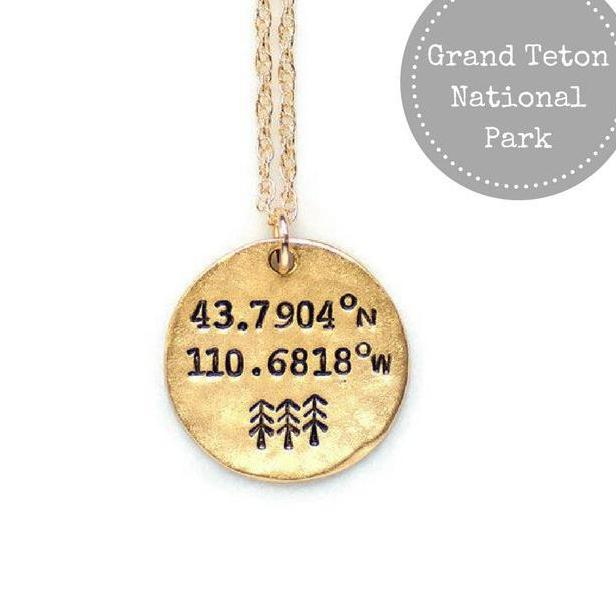 Grand Teton National Park Coordinates Necklace