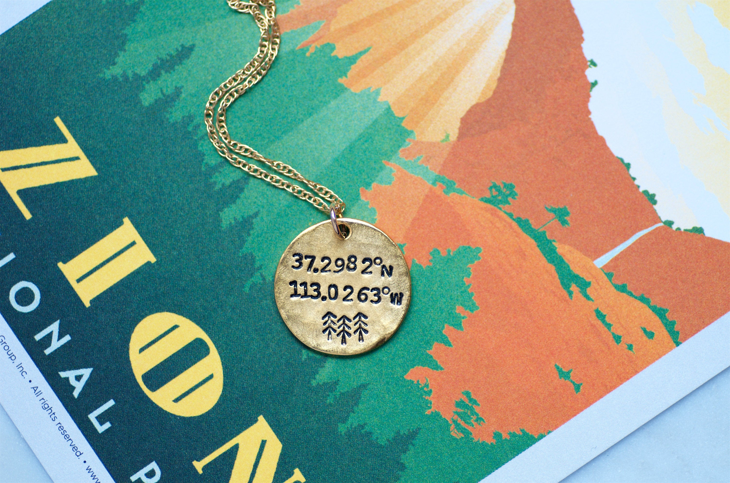 Zion National Park Longitude Latitude Necklace by Olive Bella.  Shop now: https://olivebella.com