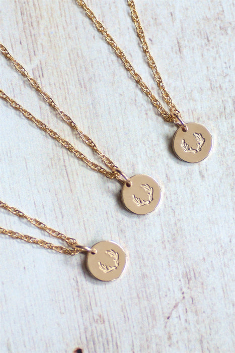 Antler Mini Disc Necklace.