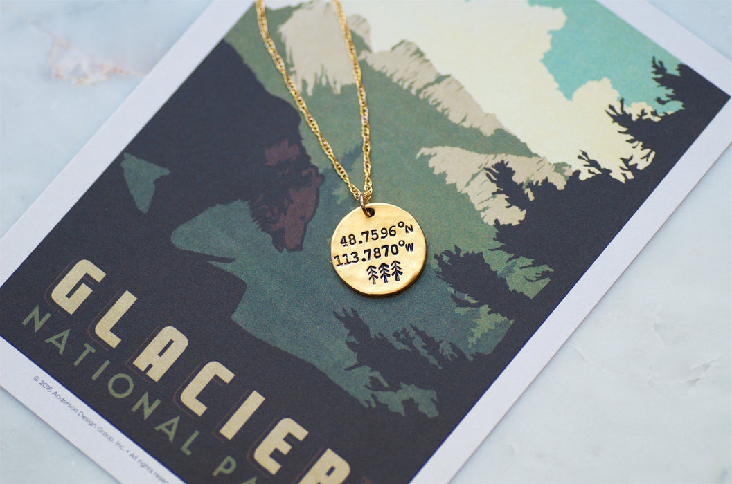 Glacier National Park Coordinates Necklace