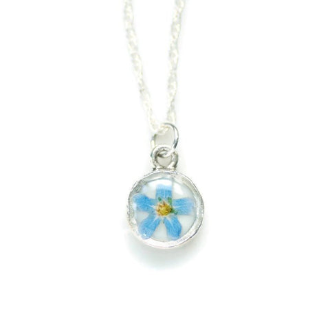 Blue Real Flower Necklace