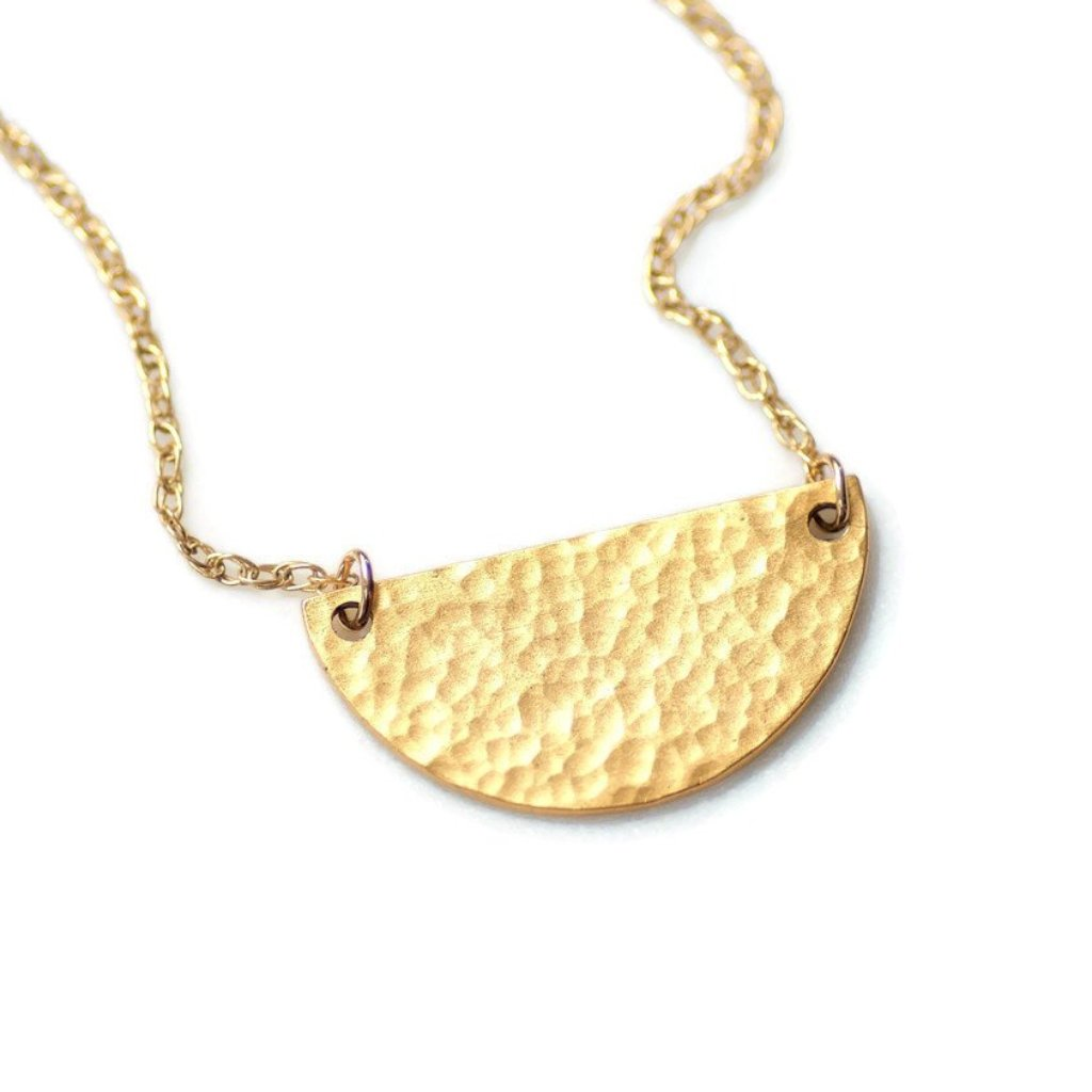Half Moon Hammered Necklace