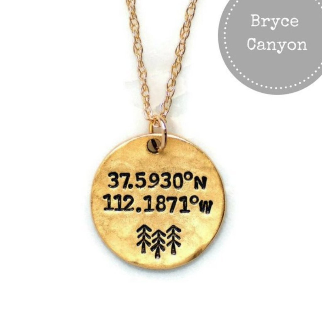 Bryce Canyon National Park Coordinates Necklace