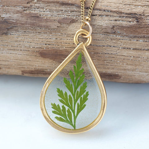 Real Leaf Necklace by Olive Bella.  Shop now: https://olivebella.com