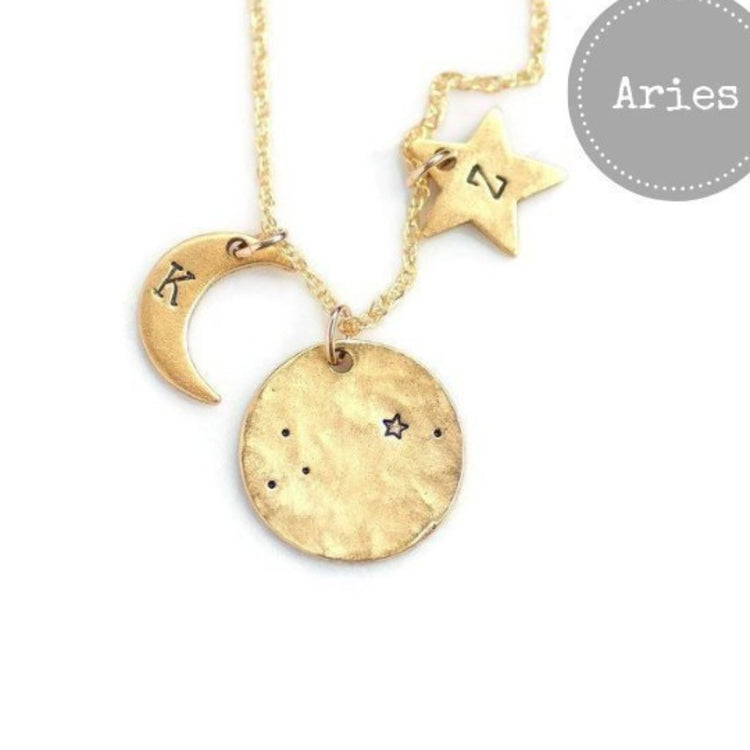 Aries Zodiac Necklace.  Shop now at https://olivebella.com