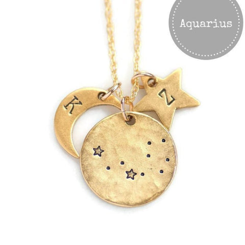 Aquarius Zodiac Necklace.  Shop now at https://olivebella.com