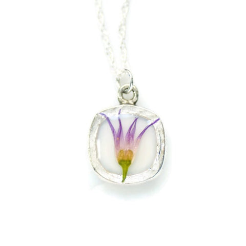 Purple Real Flower Necklace