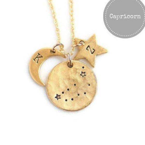 Capricorn Zodiac Necklace by Olive Bella.  Shop now: https://olivebella.com