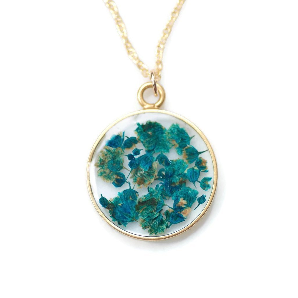 Blue Flower Statement Necklace by Olive Bella.  Shop now: https://olivebella.com