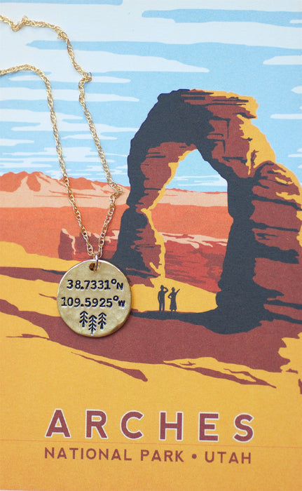 Arches National Park Coordinates Necklace by Olive Bella.  Shop now: https://olivebella.com