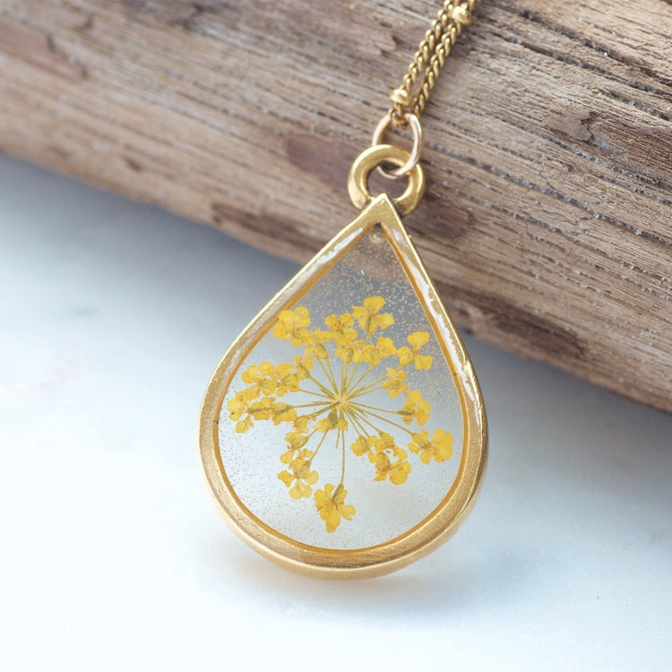 Yellow Queen Anne's Lace Pressed Flower Necklace by Olive Bella