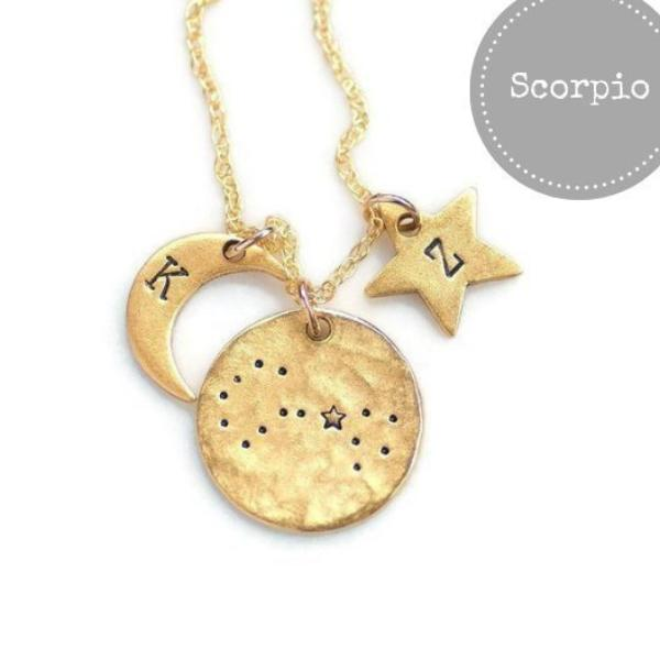 Scorpio Zodiac Constellation Necklace by Olive Bella.  Shop now: https://olivebella.com
