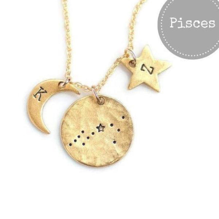 Pisces Zodiac Constellation Necklace by Olive Bella.  Shop now: https://olivebella.com
