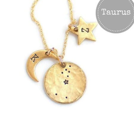 Taurus Zodiac Constellation Necklace by Olive Bella.  Shop now: https://olivebella.com