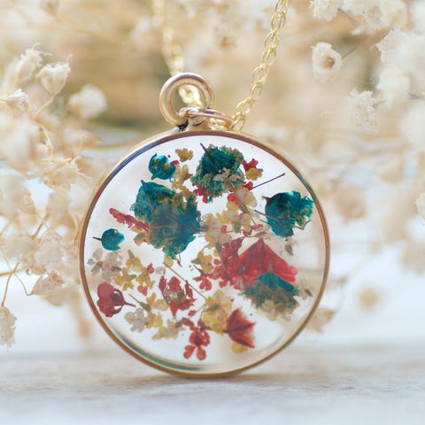 Real Pressed Flower Necklace by Olive Bella.  Shop at https://olivebella.com