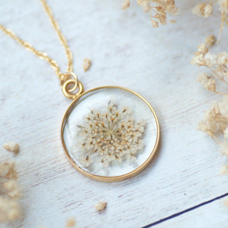 White Queen Anne's Lace Pressed Flower Necklace by Olive Bella.  Shop now: https://olivebella.com
