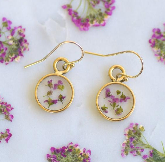 Alyssum Pressed Flower Earrings