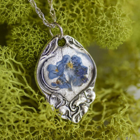 Chloe - Forget me now necklace flower on a silver spoon handle pendant.