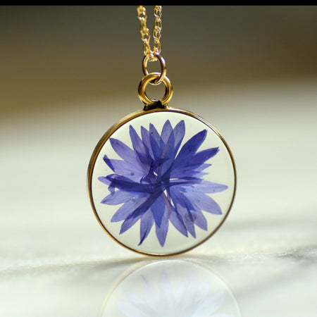 Bachelor Button Pressed Flower Necklace