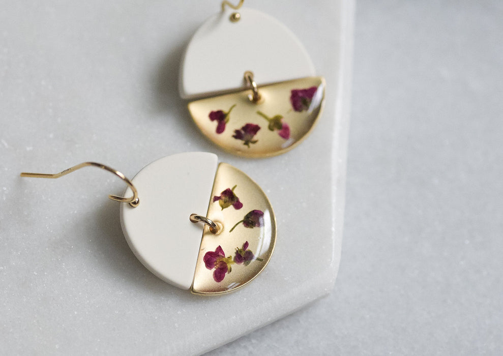 Alyssum Flower Half Moon Earrings