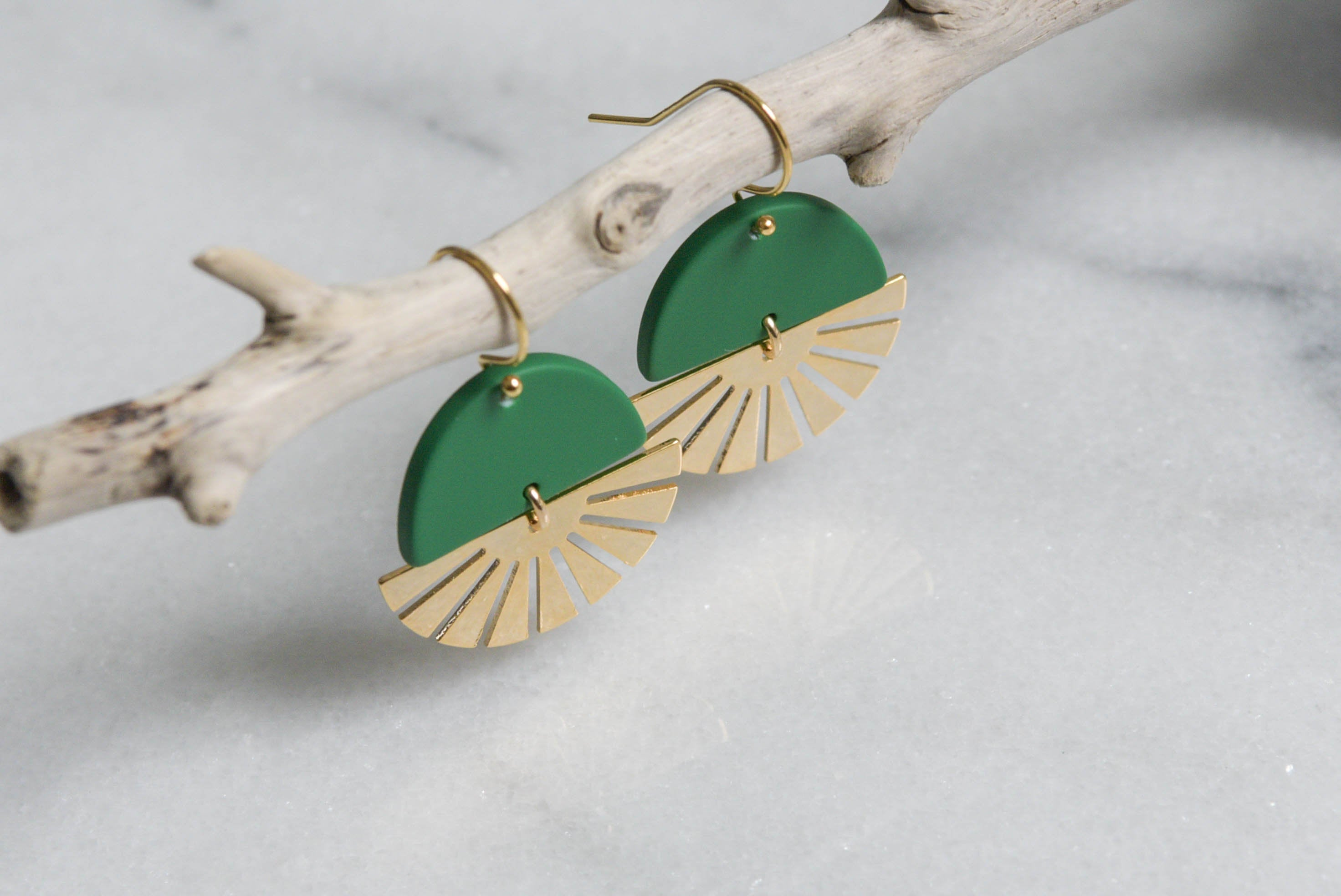 Sun Earrings Green