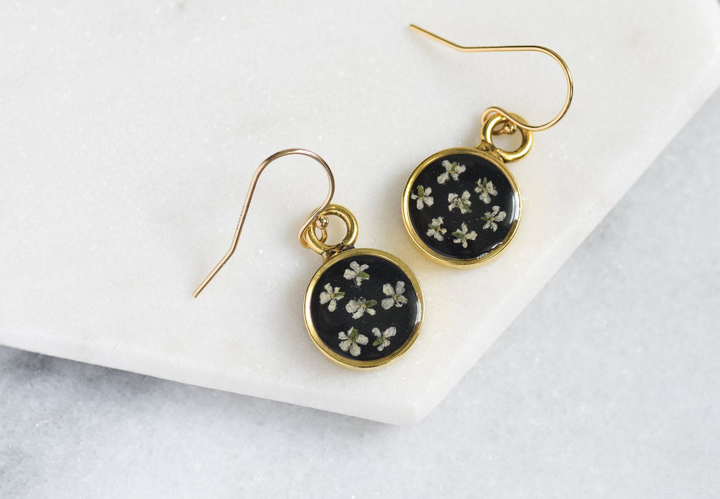 Queen Anne's Lace Flower Half Moon Earrings