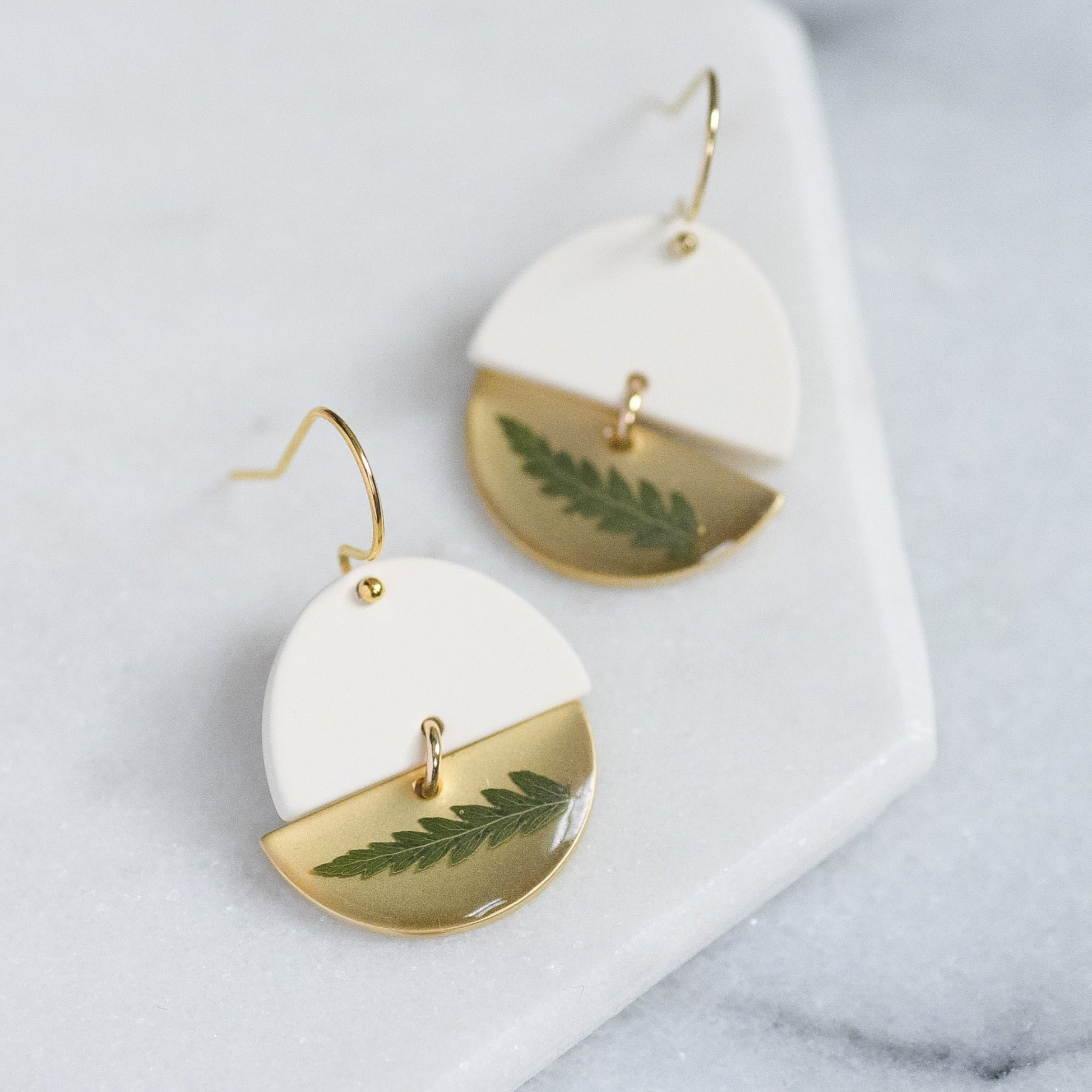 Fern Half Moon Earrings