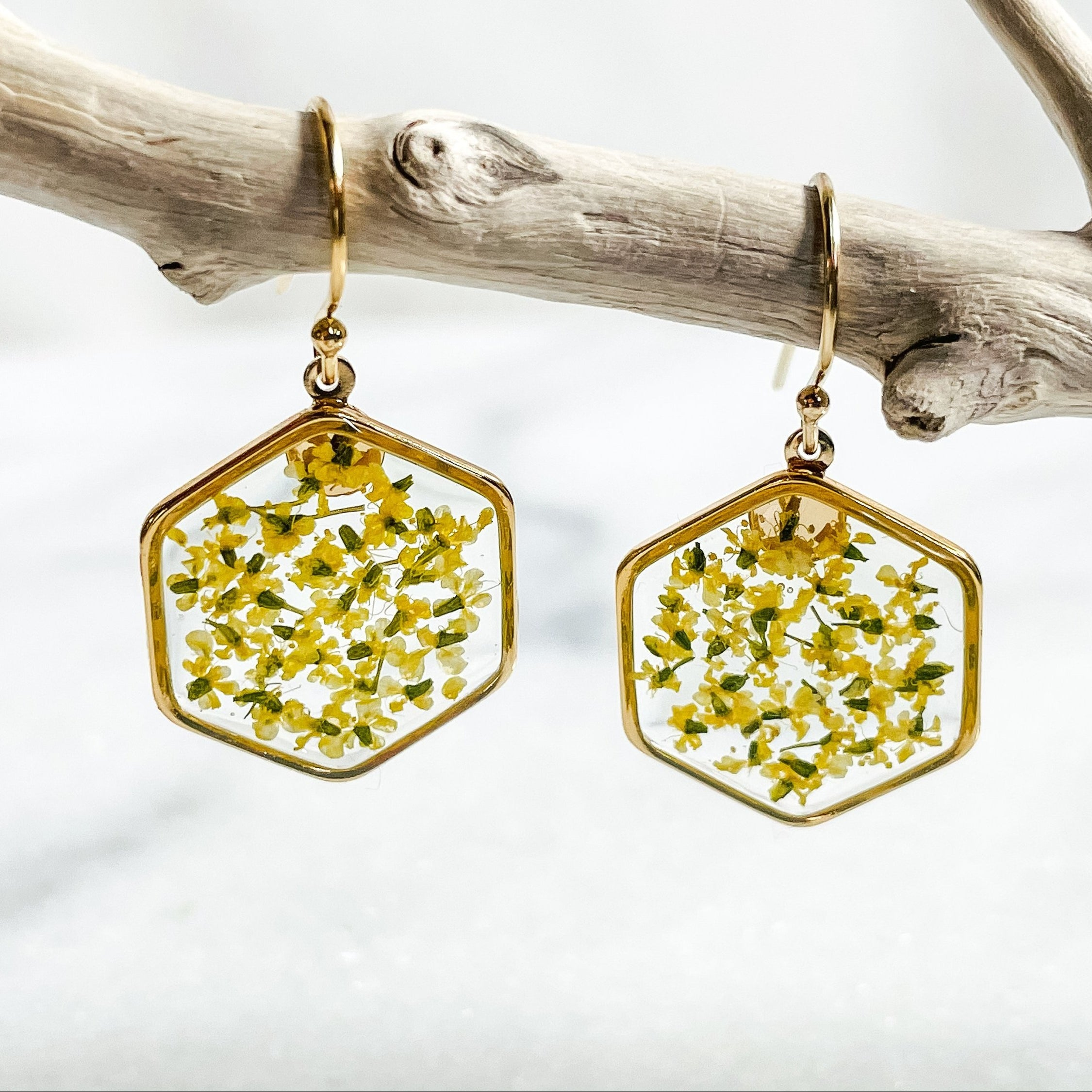 Yellow Flower Hexagon Earrings