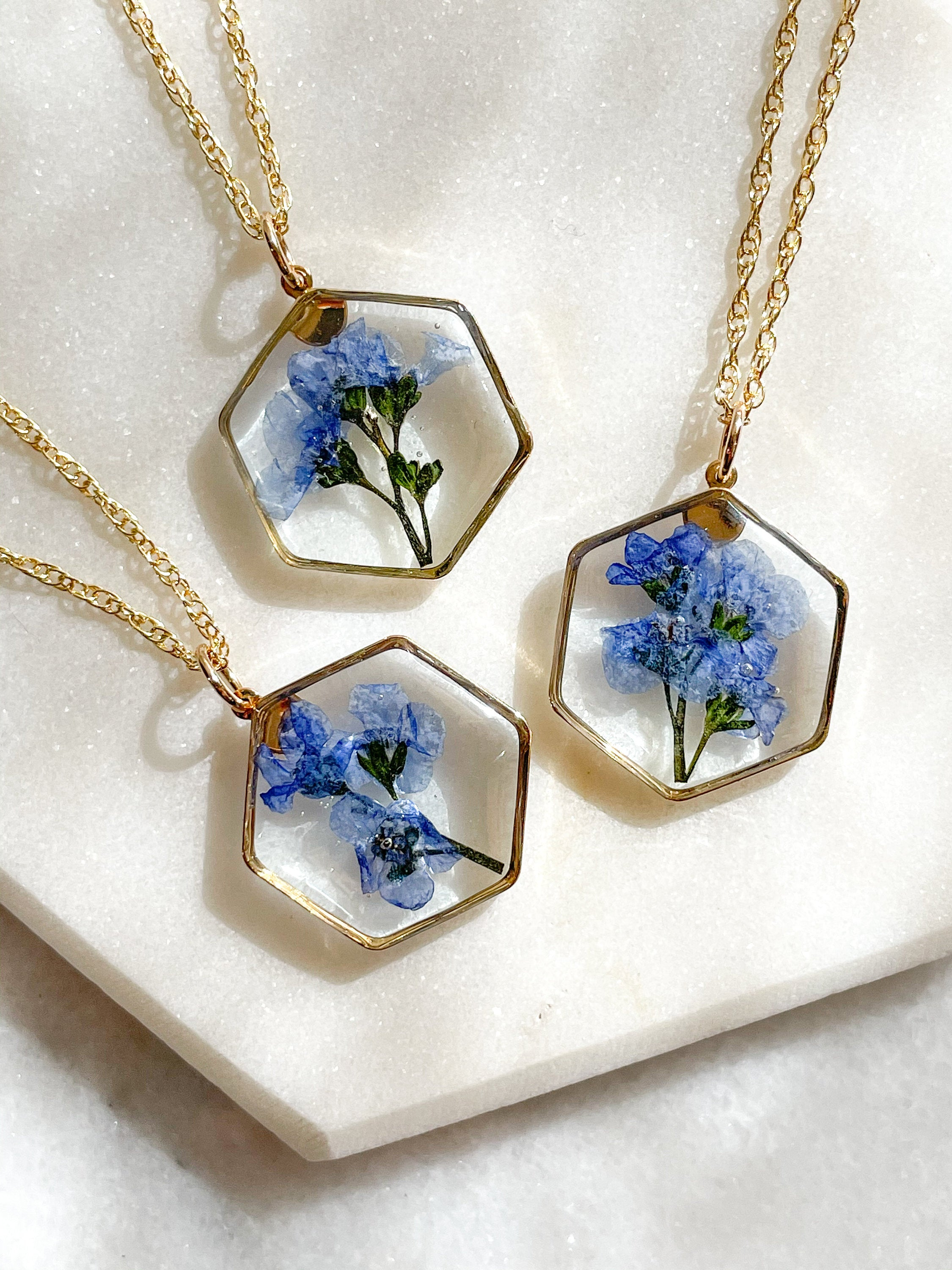 Hexagon Forget Me Not Pressed Flower Necklace
