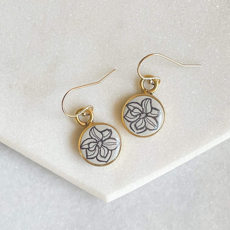 Magnolia Flower Earrings