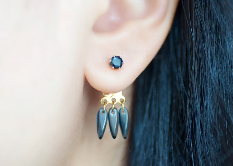 Ear Jacket Earrings - Black