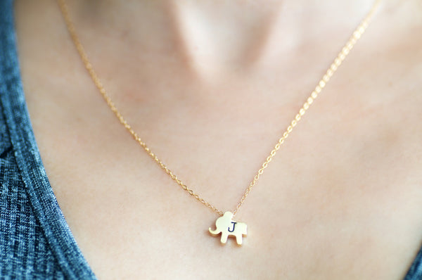 Personalized Elephant Necklace