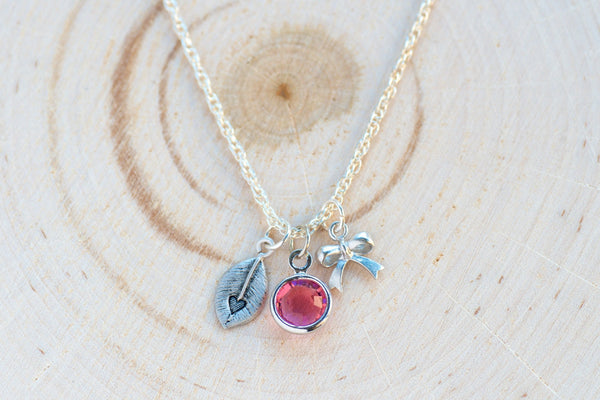 Heart Charms Necklace - Swarovski crystal, Leaf, Ribbon