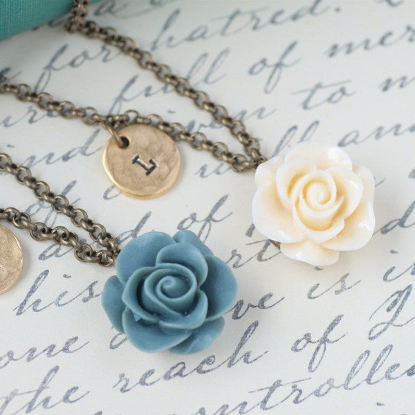 Bridesmaids Flower Necklace by Olive Bella.  Shop now: https://olivebella.com